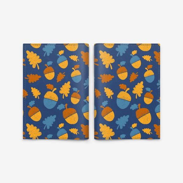Обложка для паспорта «Желуди на синем»
