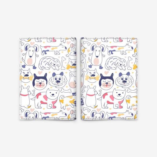 Обложка для паспорта «Собаки line art»