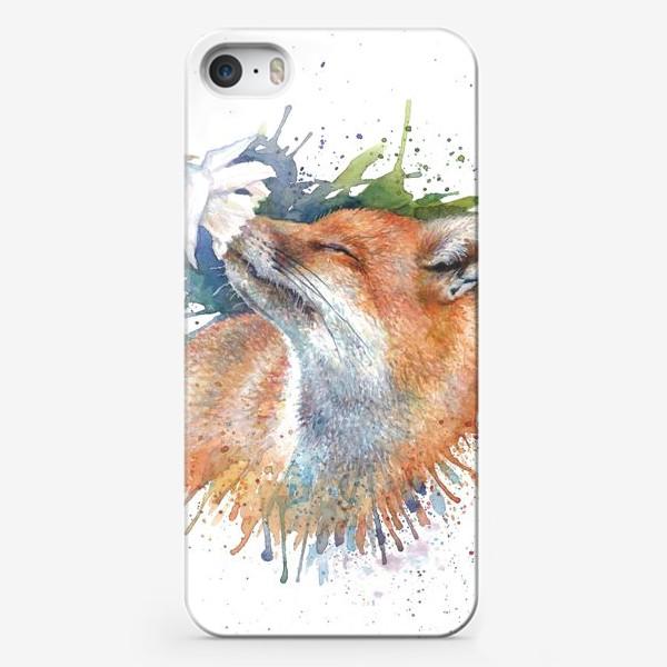 Чехол iPhone «Лиса цветок акварель»