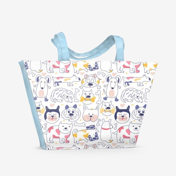 Пляжная сумка «Собаки line art»