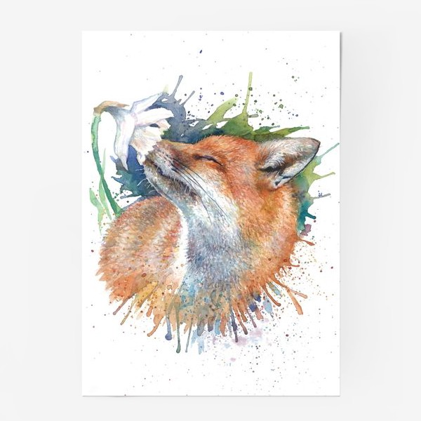 Постер «Лиса цветок акварель»