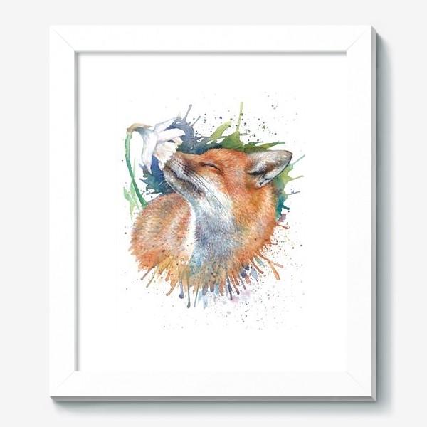 Картина «Лиса цветок акварель»