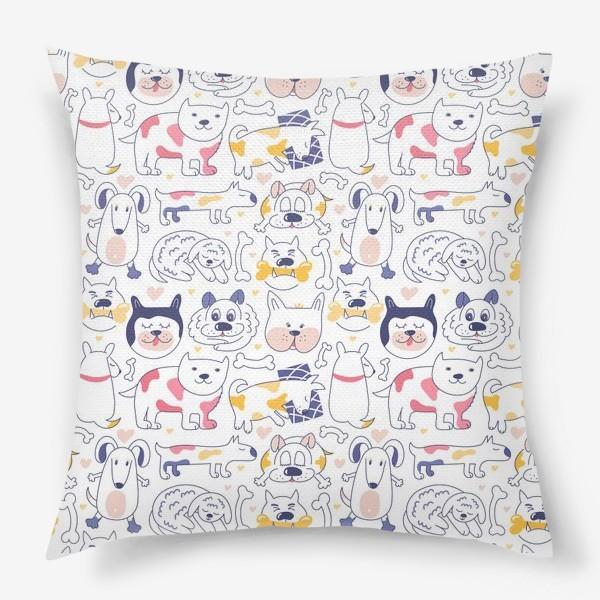 Подушка «Собаки line art»