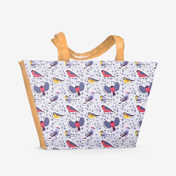 Пляжная сумка «Зимние птицы»