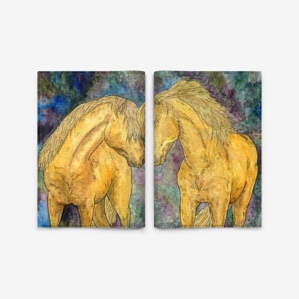 Обложка для паспорта «Две лошади»