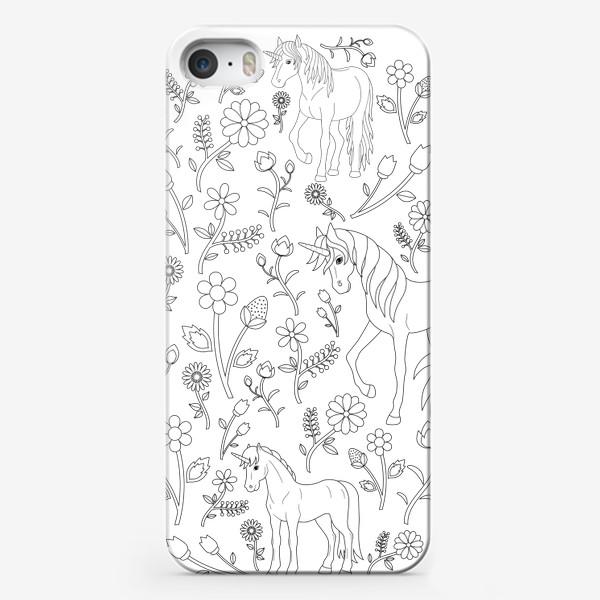 Чехол iPhone «Круговой узор с цветами и единорогами»