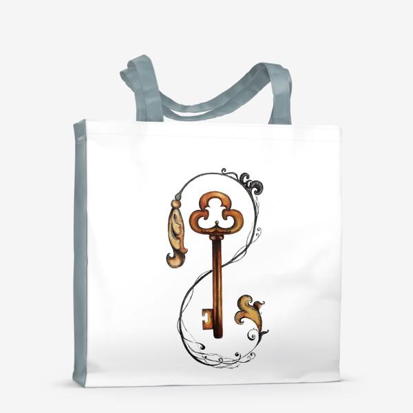 Сумка-шоппер «Ключ и викторианский орнамент. »