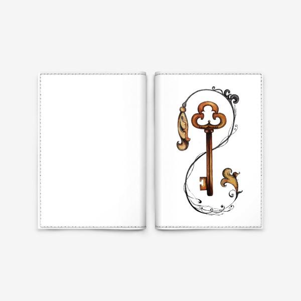 Обложка для паспорта «Ключ и викторианский орнамент. »