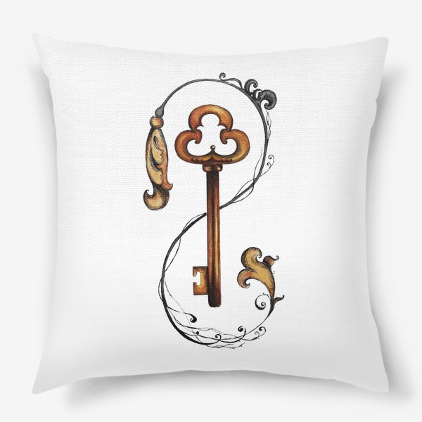 Подушка «Ключ и викторианский орнамент. »