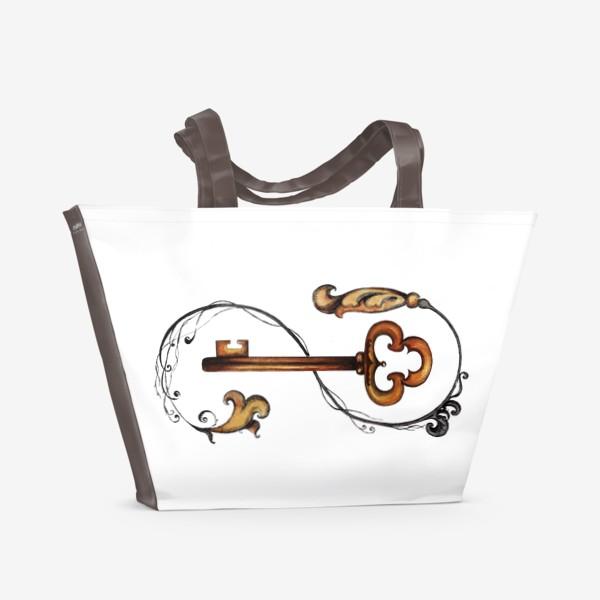 Пляжная сумка «Ключ и викторианский орнамент. »