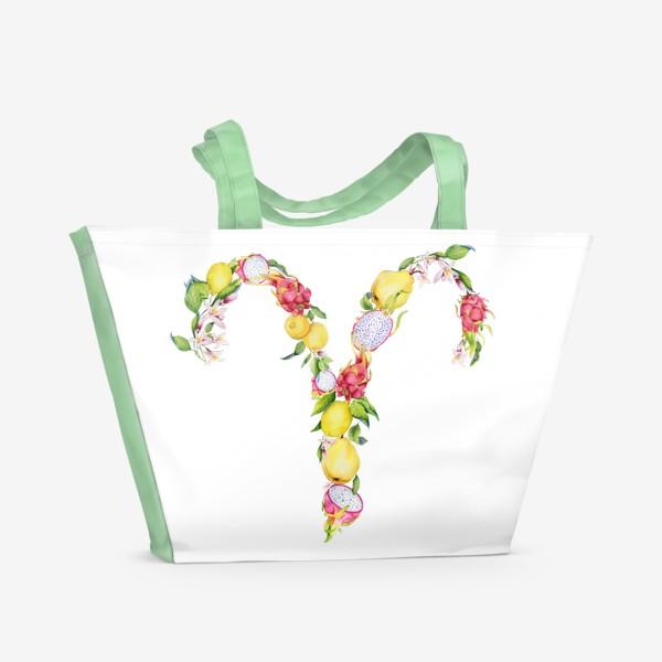 Пляжная сумка «Овен. Акварельный зодиак. Подарок овну»