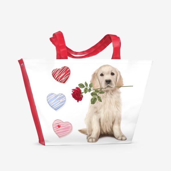 Пляжная сумка «Golden Retriever with Rose and Love»