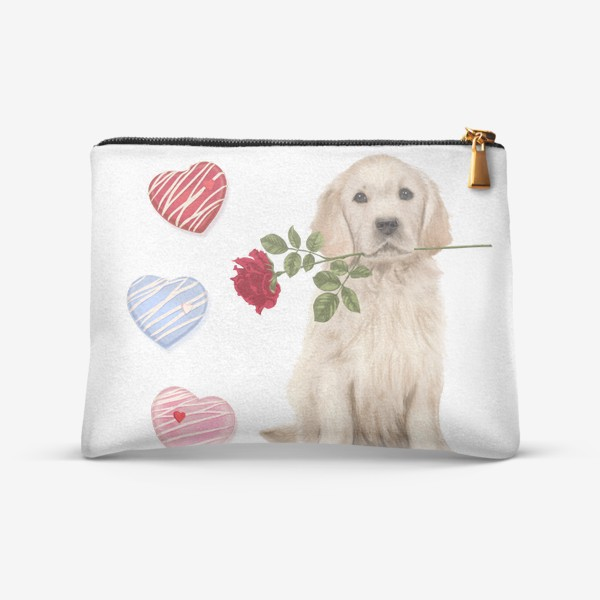 Косметичка «Golden Retriever with Rose and Love»