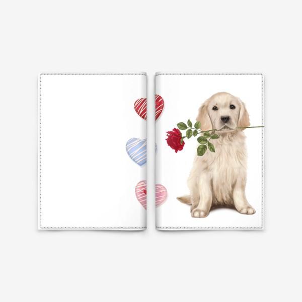 Обложка для паспорта «Golden Retriever with Rose and Love»