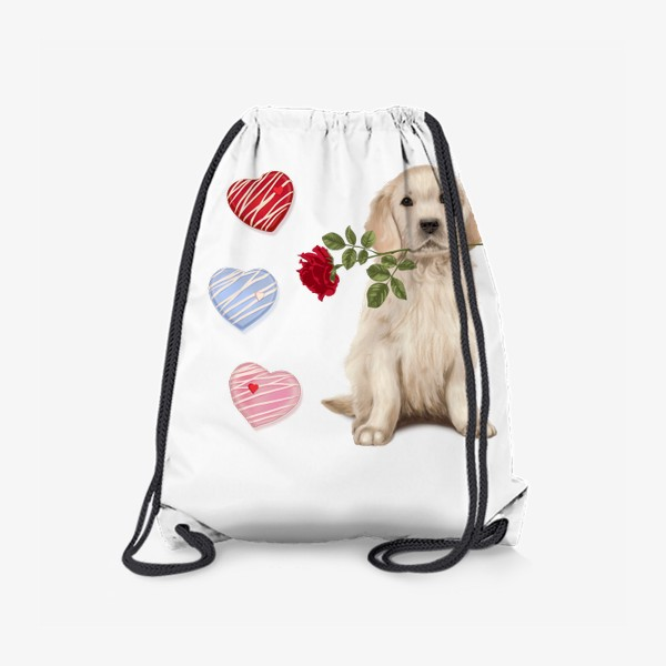 Рюкзак «Golden Retriever with Rose and Love»
