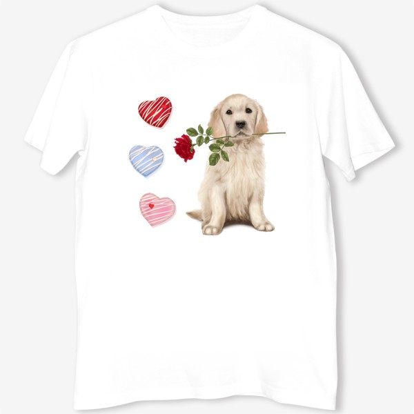 Футболка «Golden Retriever with Rose and Love»