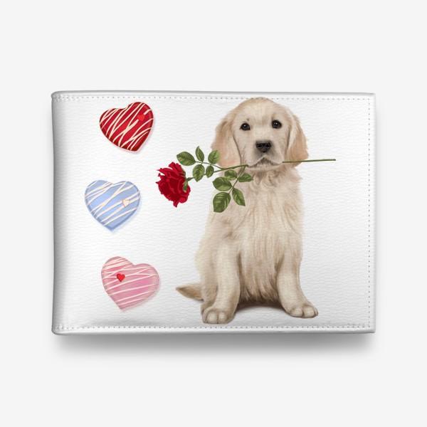 Кошелек «Golden Retriever with Rose and Love»