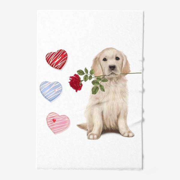 Полотенце «Golden Retriever with Rose and Love»