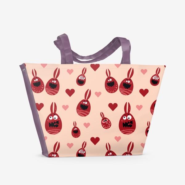 Пляжная сумка «Пасхальный паттерн на бежевом»