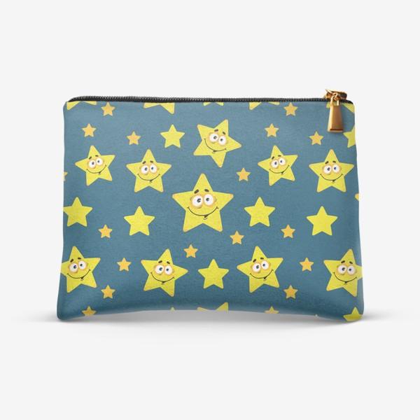 Косметичка «Небесный звездопад! Паттерн со звездами на синем фоне.. »