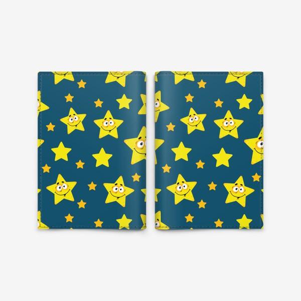 Обложка для паспорта «Небесный звездопад! Паттерн со звездами на синем фоне.. »