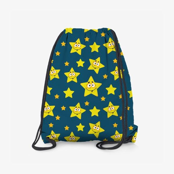Рюкзак «Небесный звездопад! Паттерн со звездами на синем фоне.. »