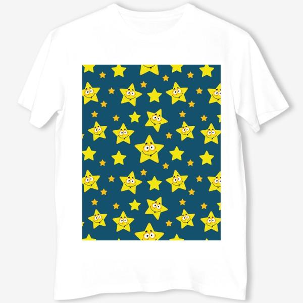 Футболка «Небесный звездопад! Паттерн со звездами на синем фоне.. »