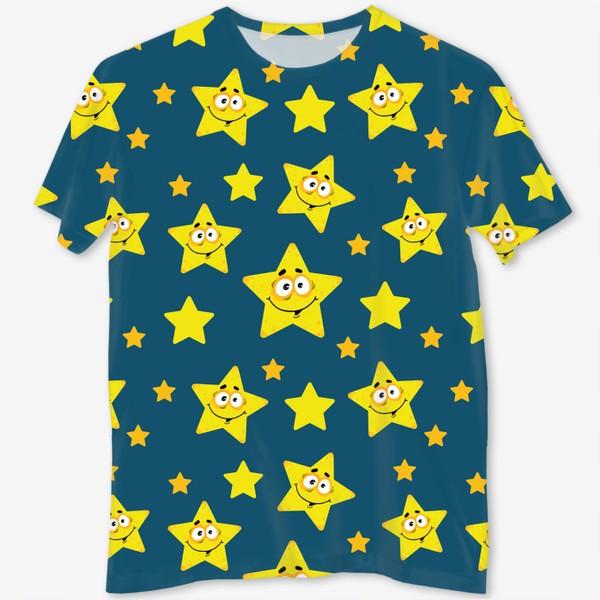 Футболка с полной запечаткой «Небесный звездопад! Паттерн со звездами на синем фоне.. »