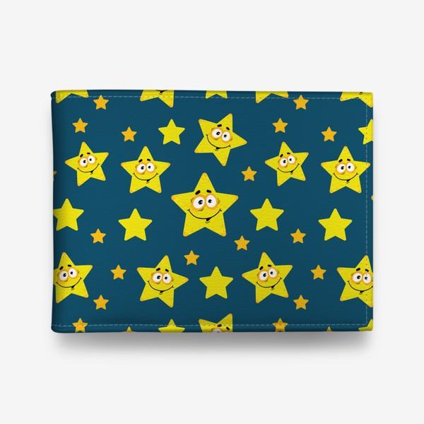 Кошелек «Небесный звездопад! Паттерн со звездами на синем фоне.. »