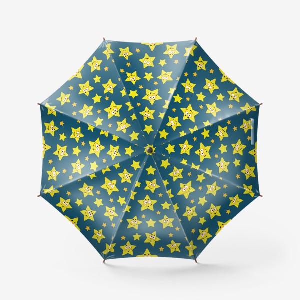 Зонт «Небесный звездопад! Паттерн со звездами на синем фоне.. »
