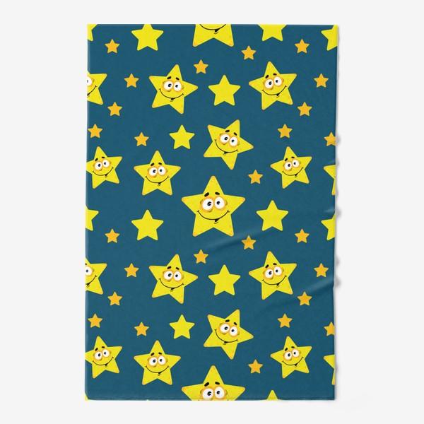 Полотенце «Небесный звездопад! Паттерн со звездами на синем фоне.. »