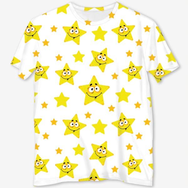 Футболка с полной запечаткой «Небесный звездопад! Паттерн со звездами. »