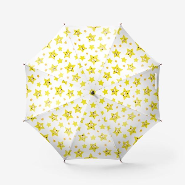 Зонт «Небесный звездопад! Паттерн со звездами. »