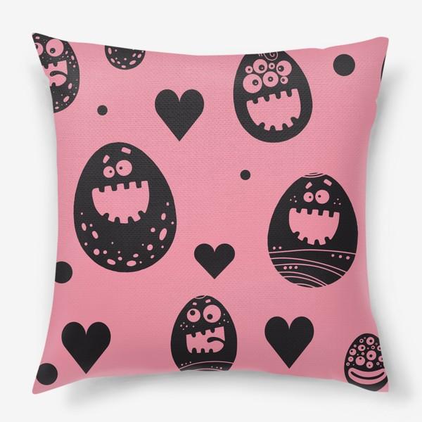 Подушка «Веселый пасхальный паттерн на розовом»