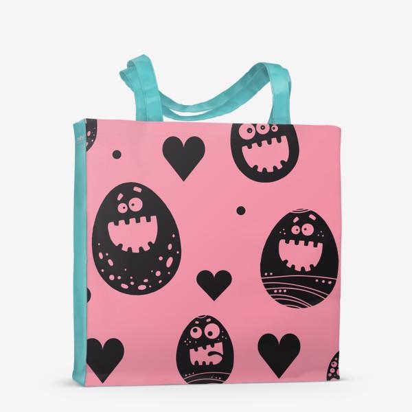 Сумка-шоппер «Веселый пасхальный паттерн на розовом»