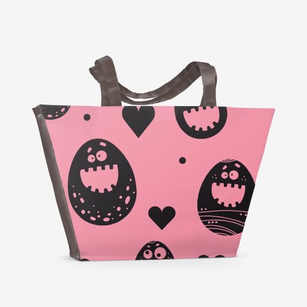 Пляжная сумка «Веселый пасхальный паттерн на розовом»