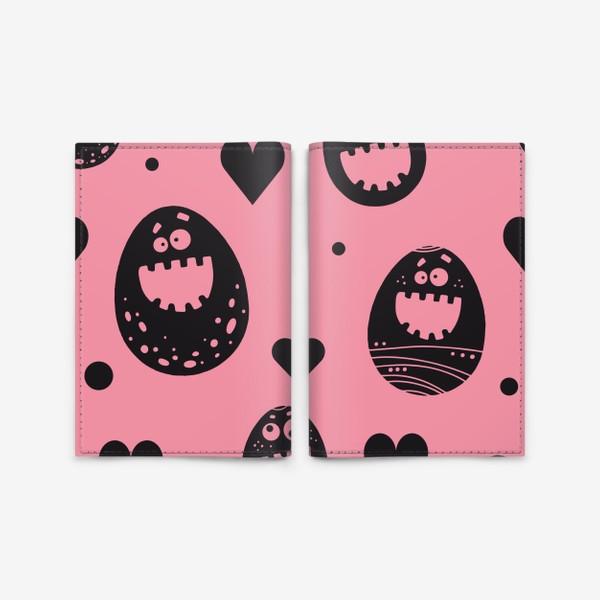 Обложка для паспорта «Веселый пасхальный паттерн на розовом»
