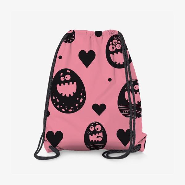Рюкзак «Веселый пасхальный паттерн на розовом»