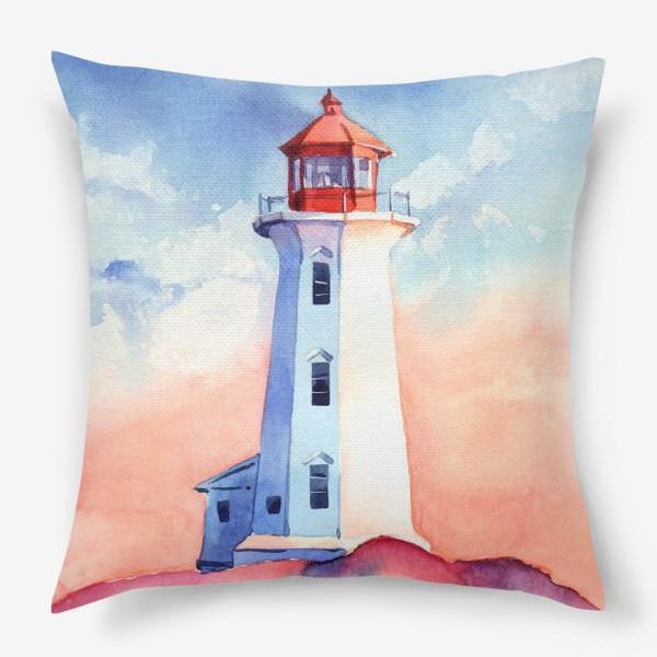 Подушка «Акварельный маяк»