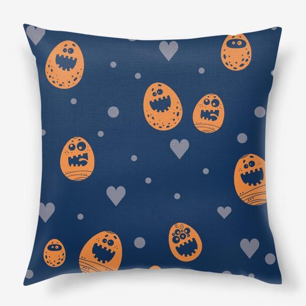 Подушка «Пасхальный паттерн на синем»