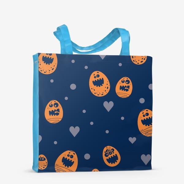 Сумка-шоппер «Пасхальный паттерн на синем»