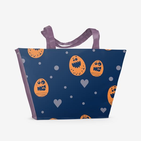 Пляжная сумка «Пасхальный паттерн на синем»