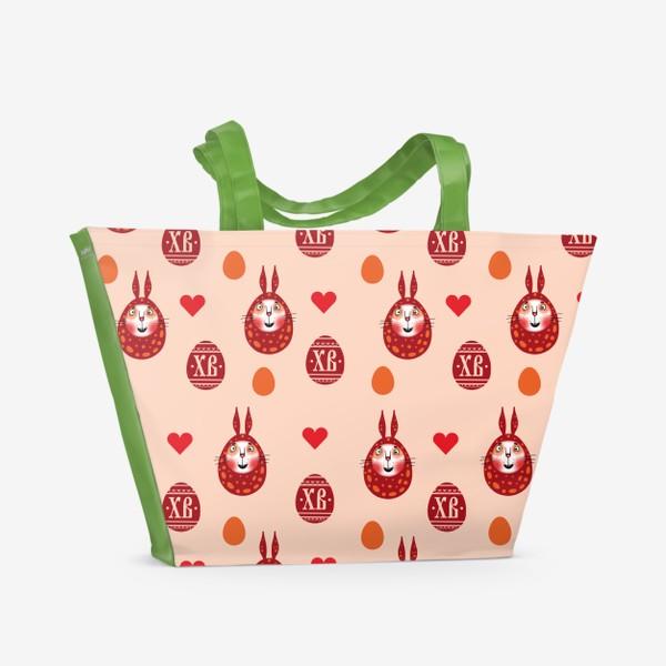 Пляжная сумка «Пасхальный паттерн с зайками»