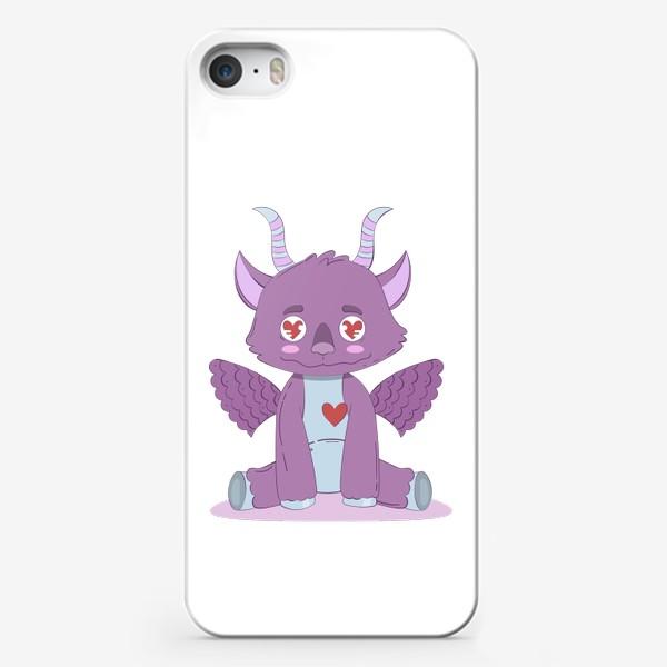 Чехол iPhone «Влюбленный милый фиолетовый дракончик»