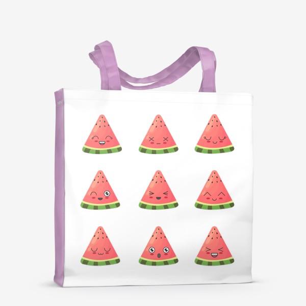 Сумка-шоппер «Милые арбузики с эмоциями»