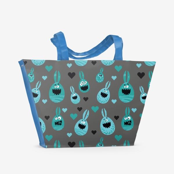 Пляжная сумка «Пасхальный паттерн на сером»