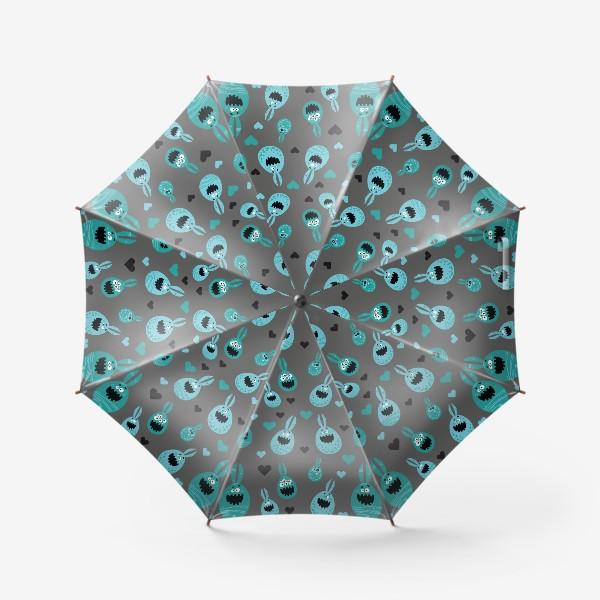 Зонт «Пасхальный паттерн на сером»