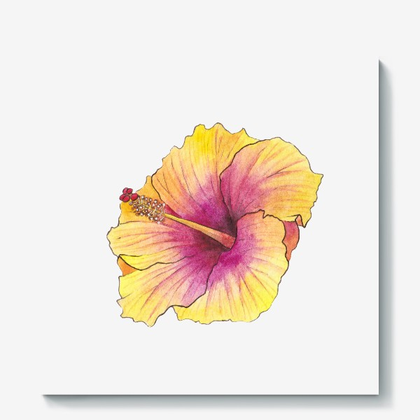Холст «Желтый цветок. Гибискус»