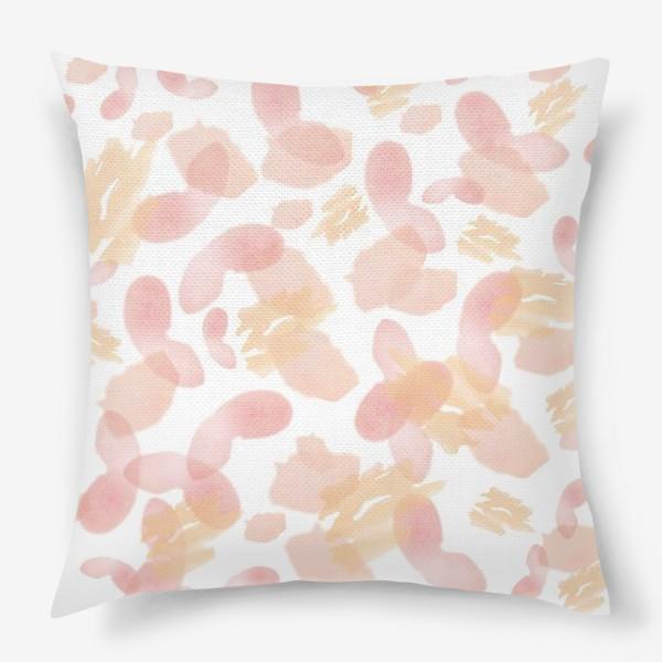 Подушка «Абстракция акварельная розовая»