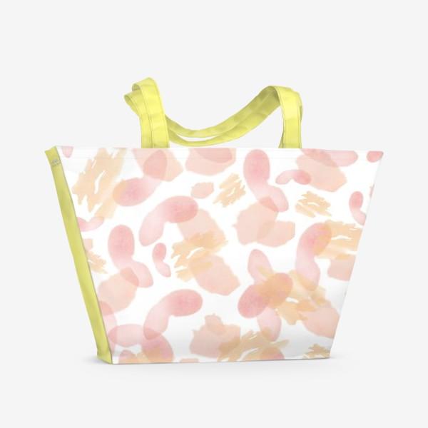 Пляжная сумка «Абстракция акварельная розовая»